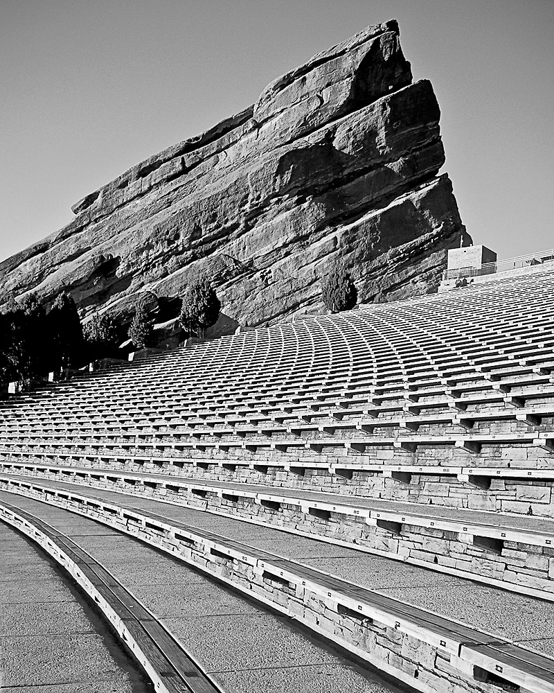 Red Rocks Amphitheater in Black and White by JRRouse