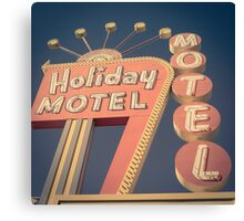 Vintage Motel Sign Square Canvas Print