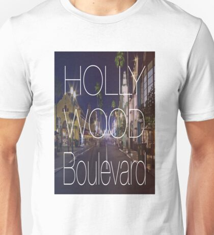 Hollywood boulevard with text & red and blue overlay Unisex T-Shirt
