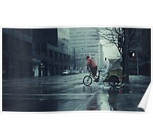 Pedicab in the Rain Poster