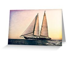big sailboat sailing Greeting Card