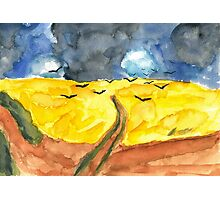Wheat Field With Crows Watercolour Photographic Print