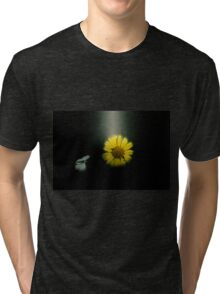 Digitally manipulated image of a white butterfly and yellow flower Tri-blend T-Shirt