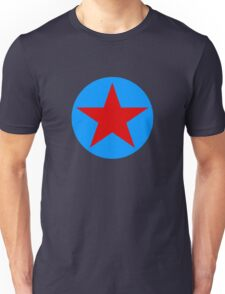 blue with red star Unisex T-Shirt
