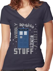 Wibbly Wobbly Timey Wimey Stuff Women's Fitted V-Neck T-Shirt