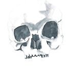 Watercolour skull in dull colours by withoutwax94