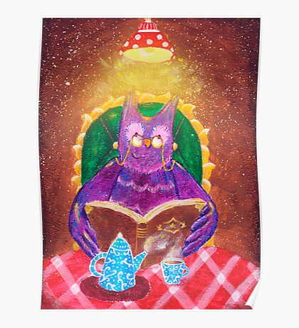 Old owl with book and tea Poster