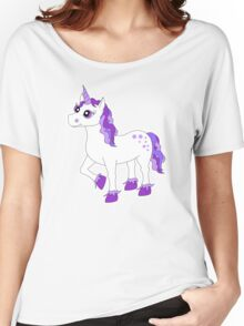 Cute Purple and White Unicorn Women's Relaxed Fit T-Shirt