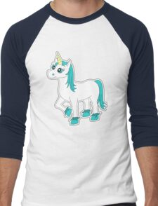 Cute Blue and White Unicorn Men's Baseball ¾ T-Shirt