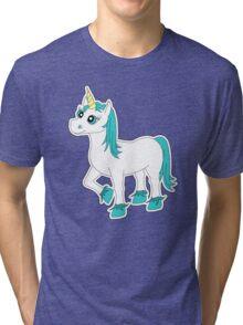 Cute Blue and White Unicorn Tri-blend T-Shirt