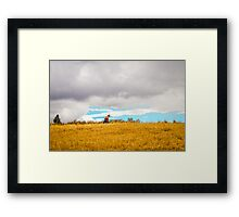 Old Woman Walking On Hill Framed Print