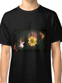 Digitally manipulated image of a white butterfly and yellow flower Classic T-Shirt