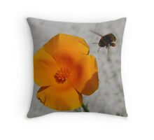 Californian Poppies and a Bumble Bee Throw Pillow