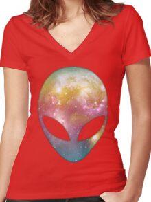 Space Alien Women's Fitted V-Neck T-Shirt