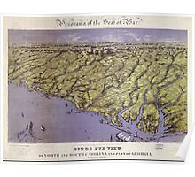Civil War Maps 1239 Panorama of the seat of war birds eye view of North and South Carolina and part of Georgia Poster