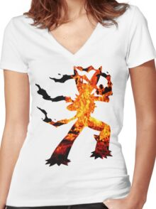 Mega Blaziken used Blast Burn Women's Fitted V-Neck T-Shirt