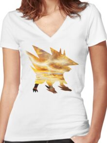 Mega Manectric Thunder Wave Women's Fitted V-Neck T-Shirt