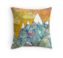 Maps and Mountains Throw Pillow