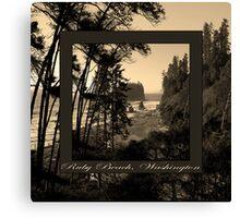 ruby beach, wa, usa old school (2x square) Canvas Print