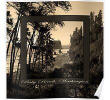 ruby beach, wa, usa old school (2x square) Poster