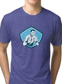 Rugby Player Running Ball Shield Cartoon Tri-blend T-Shirt