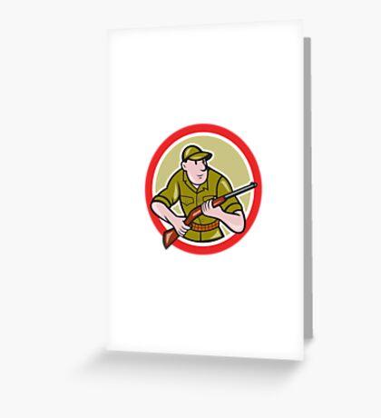 Hunter Carrying Rifle Cartoon Greeting Card