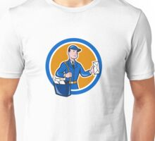 Mailman Postman Delivery Worker Circle Cartoon Unisex T-Shirt