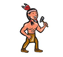 Native American Holding Tomahawk Cartoon by patrimonio