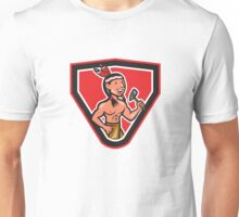 Native American Holding Tomahawk Cartoon Unisex T-Shirt