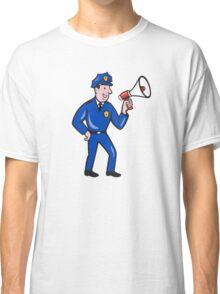 Policeman Shouting Bullhorn Isolated Cartoon Classic T-Shirt