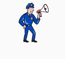 Policeman Shouting Bullhorn Isolated Cartoon Unisex T-Shirt
