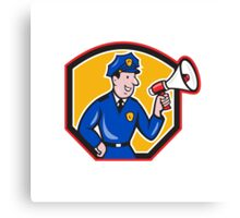 Policeman Shouting Bullhorn Shield Cartoon Canvas Print