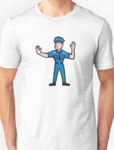 Traffic Policeman Stop Hand Signal Cartoon Unisex T-Shirt