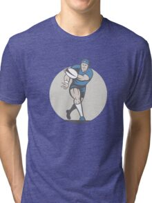 Rugby Player Running Ball Isolated Cartoon Tri-blend T-Shirt
