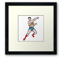 Superhero Punching Cartoon Framed Print