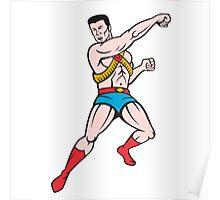 Superhero Punching Cartoon Poster