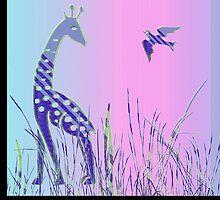Giraffen mit Vogel -  Giraffe with bird by fuxart
