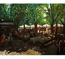 Beer garden at Viktualienmarkt Munich Photographic Print