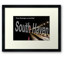 Moon Over the Lighthouse in South Haven, Michigan Framed Print