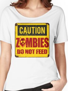 Bloody Zombies Caution Sign Women's Relaxed Fit T-Shirt