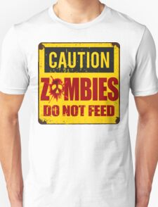 Bloody Zombies Caution Sign T-Shirt