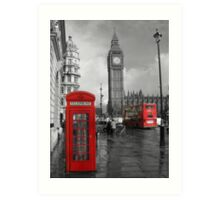 Color Selection of Telephone & Bus in London Art Print