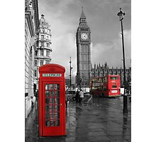 Color Selection of Telephone & Bus in London Photographic Print