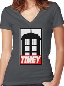 TIMEY Women's Fitted V-Neck T-Shirt