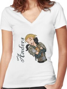 Anders with kittens Women's Fitted V-Neck T-Shirt