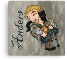 Anders with kittens Canvas Print
