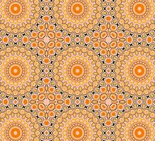 Gold, Orange & Brown Kaleidoscope Flowers by Mercury McCutcheon