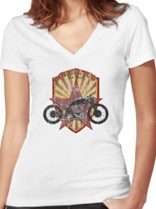 Bobber Job, motorcycle works Women's Fitted V-Neck T-Shirt