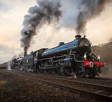 Black Fives Leave Appleby Railway Station  by Jan Fialkowski