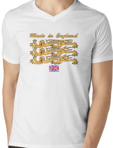 Made In England, with Regal Lions Mens V-Neck T-Shirt